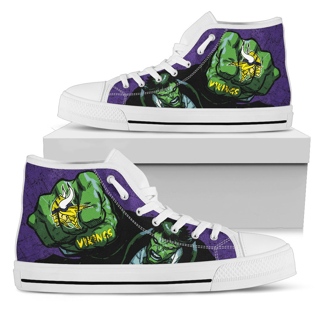Hulk Punch Minnesota Vikings High Top Shoes