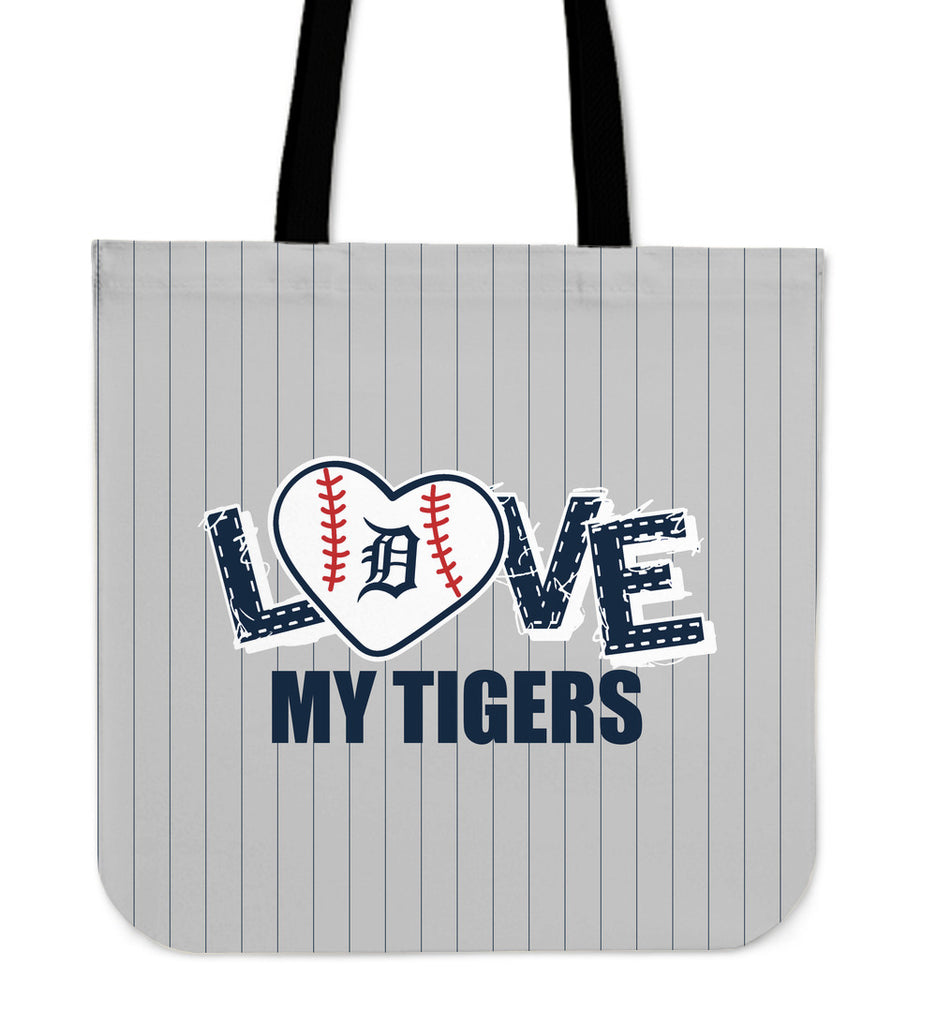 Love My Detroit Tigers Vertical Stripes Pattern Tote Bags