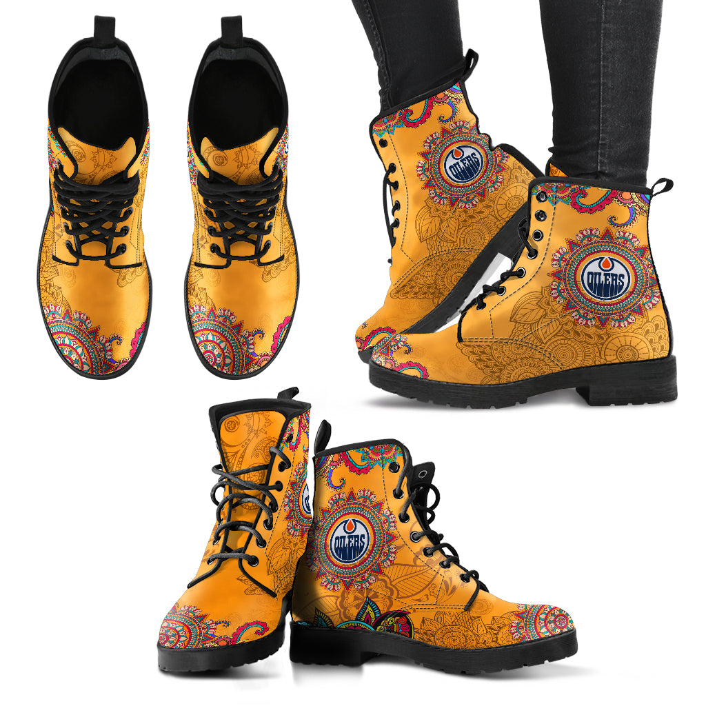 Golden Peace Hand Crafted Awesome Logo Edmonton Oilers Leather Boots