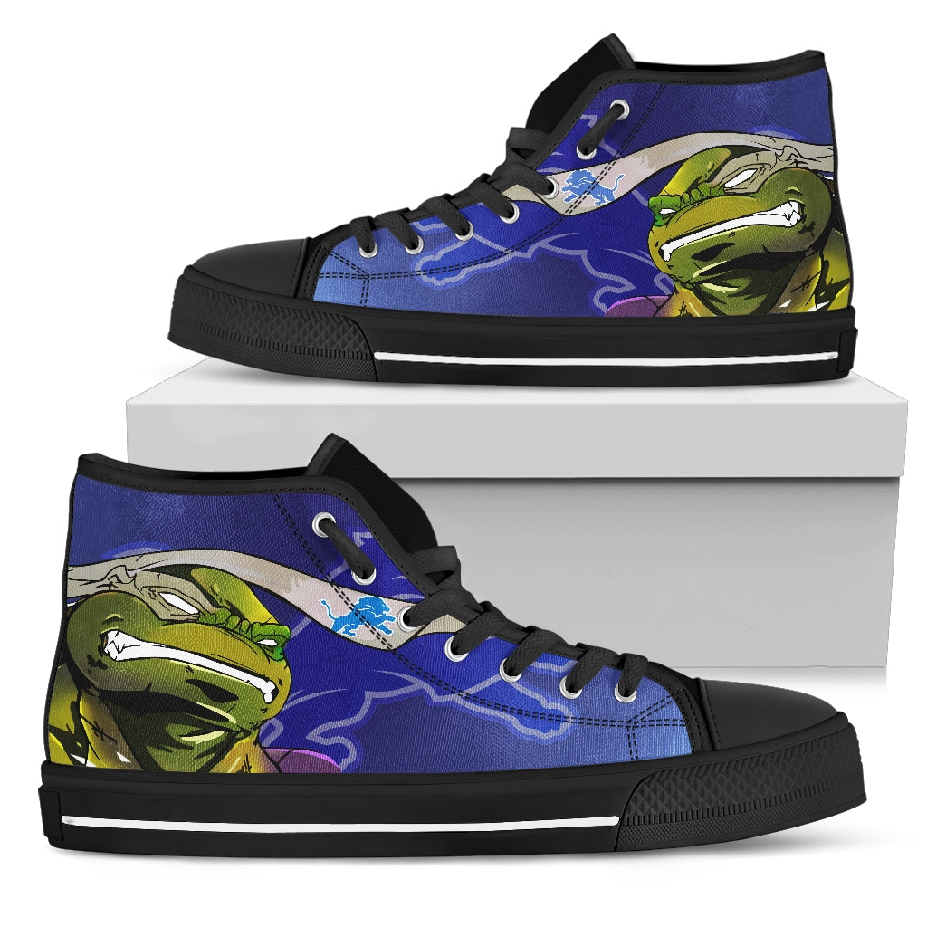 Turtle Detroit Lions Ninja High Top Shoes