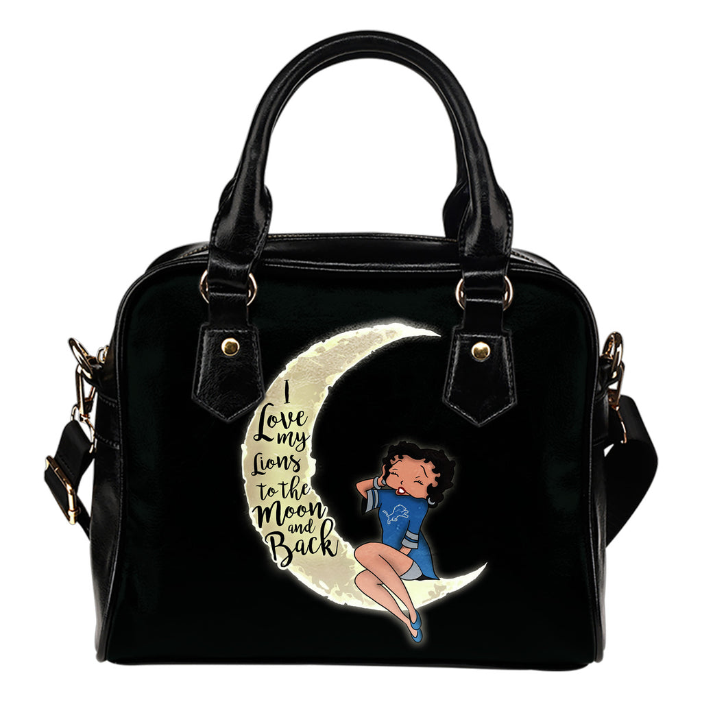 BB I Love My Detroit Lions To The Moon And Back Shoulder Handbags Women Purse