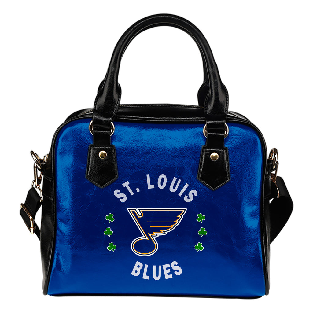 Central Beautiful Logo Circle Lucky Leaf St. Louis Blues Shoulder Handbags
