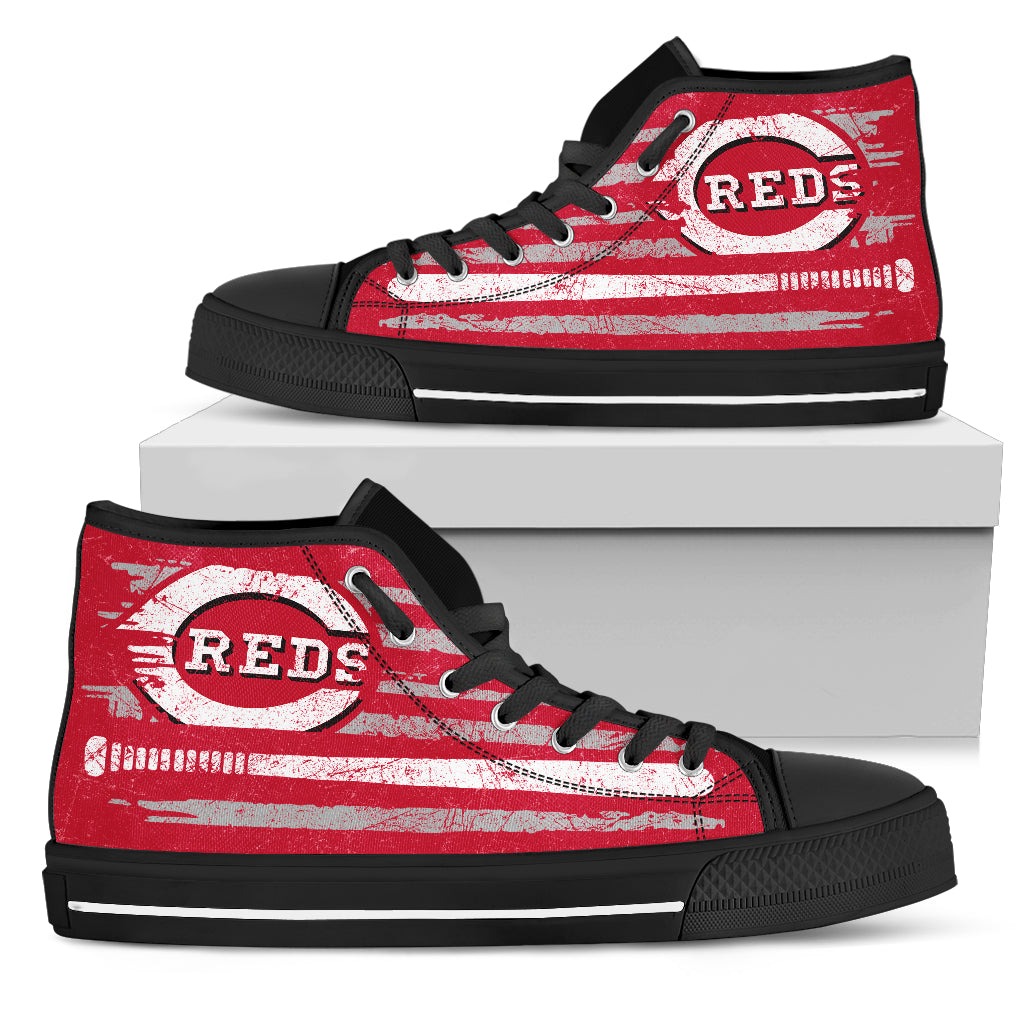American Flag Vintage Baseball Cincinnati Reds High Top Shoes