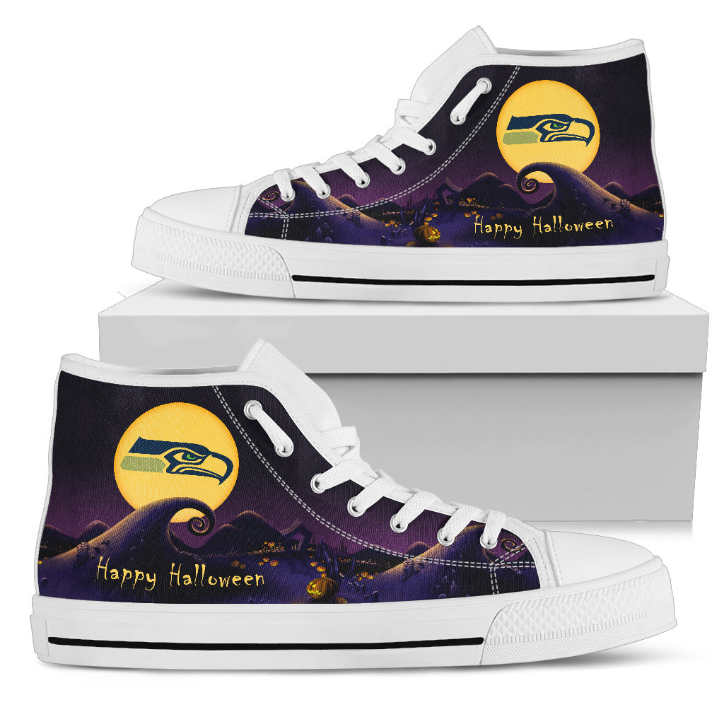 Before Christmas Nightmare Halloween Moonlight Seattle Seahawks High Top Shoes