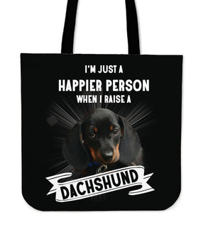 Dachshund - I'm Just A Happier Person Tote Bags
