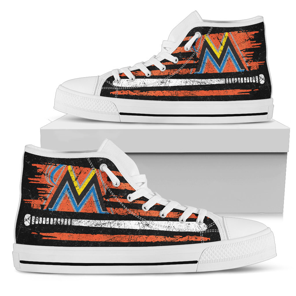 American Flag Vintage Baseball Miami Marlins High Top Shoes