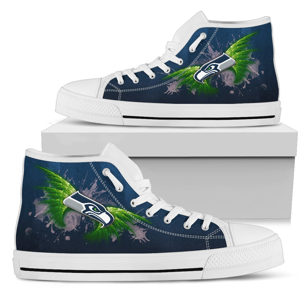 Angel Wings Seattle Seahawks High Top Shoes