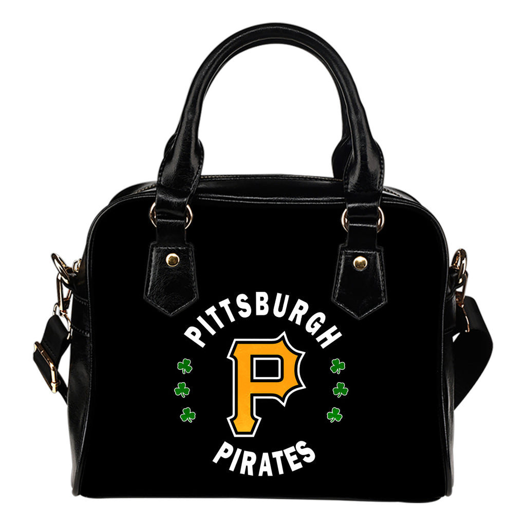 Central Beautiful Logo Circle Lucky Leaf Pittsburgh Pirates Shoulder Handbags