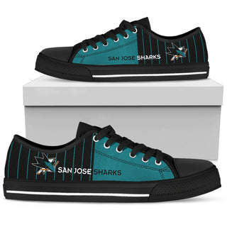 Simple Design Vertical Stripes San Jose Sharks Low Top Shoes