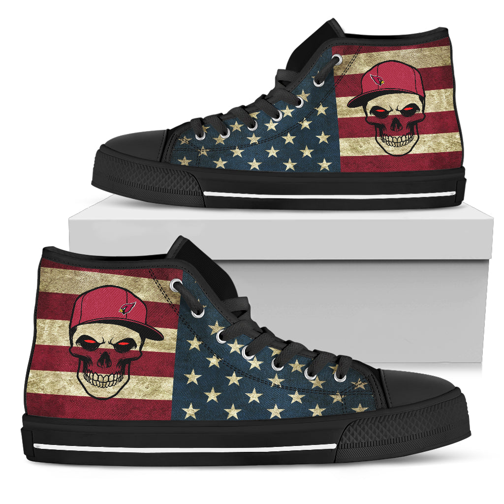 Skull Flag Vintage Style Arizona Cardinals High Top Shoes