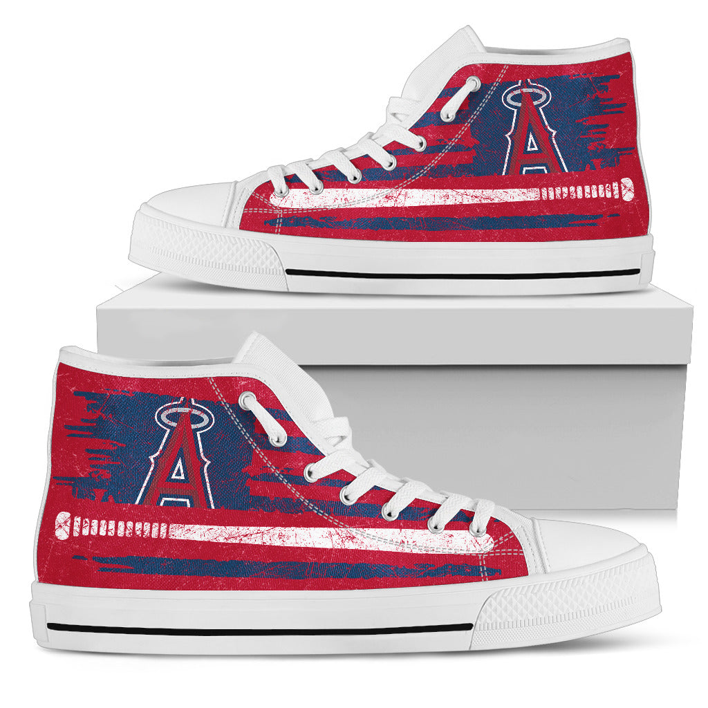 American Flag Vintage Baseball Los Angeles Angels High Top Shoes