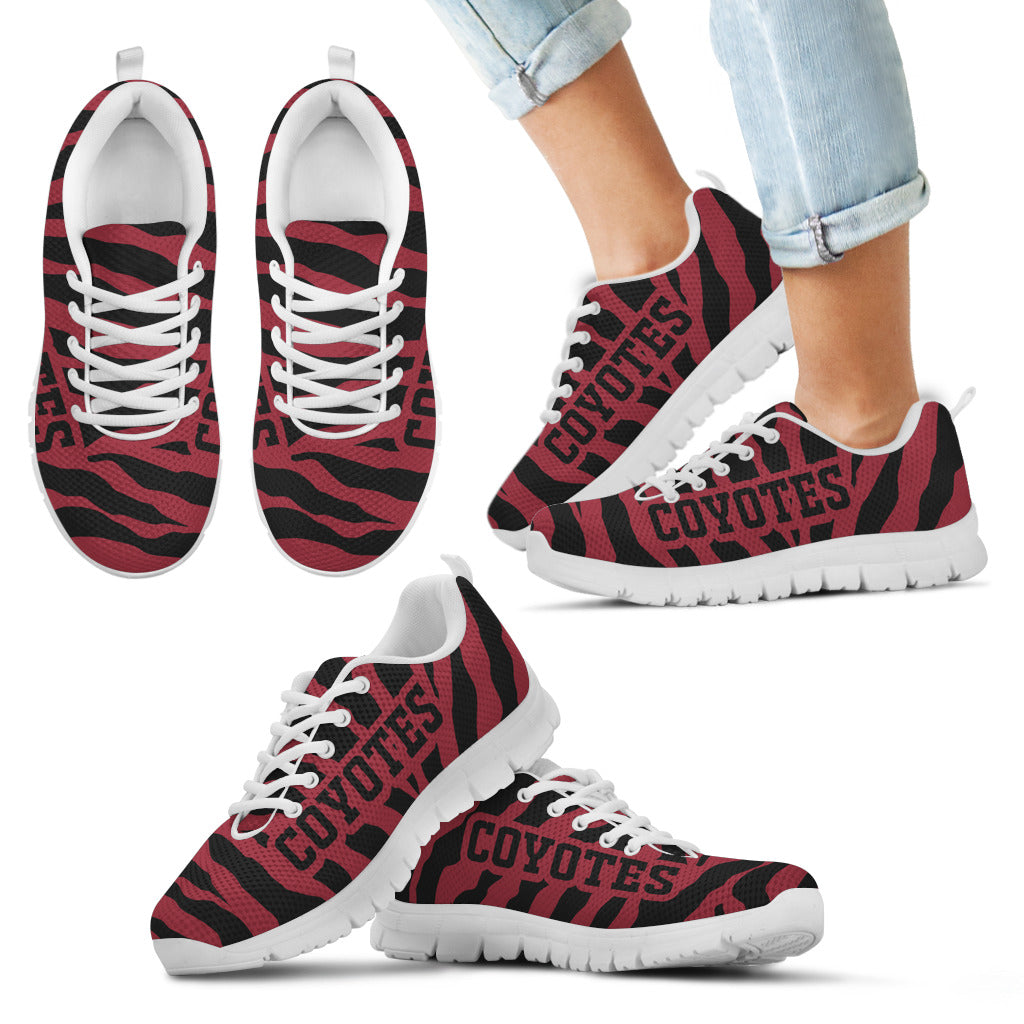Tiger Skin Stripes Pattern Print Arizona Coyotes Sneakers