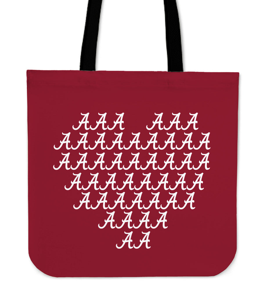 Alabama Crimson Tide Heart Logo Tote Bags - Best Funny Store