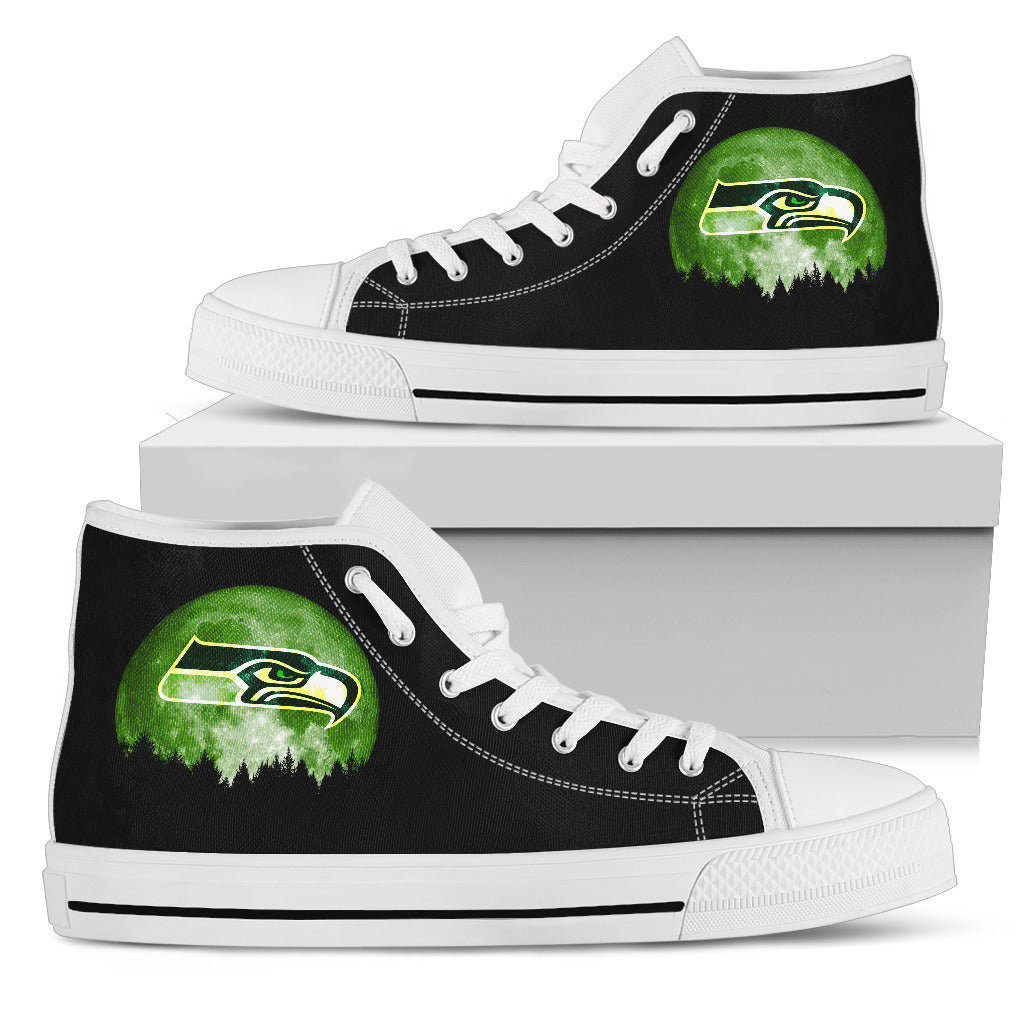 Halloween Orange Moon Mystery Seattle Seahawks High Top Shoes