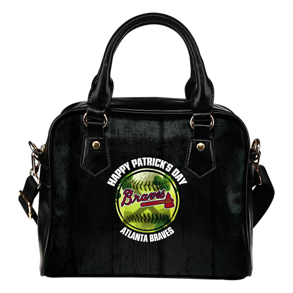 Retro Scene Lovely Shining Patrick's Day Atlanta Braves Shoulder Handbags