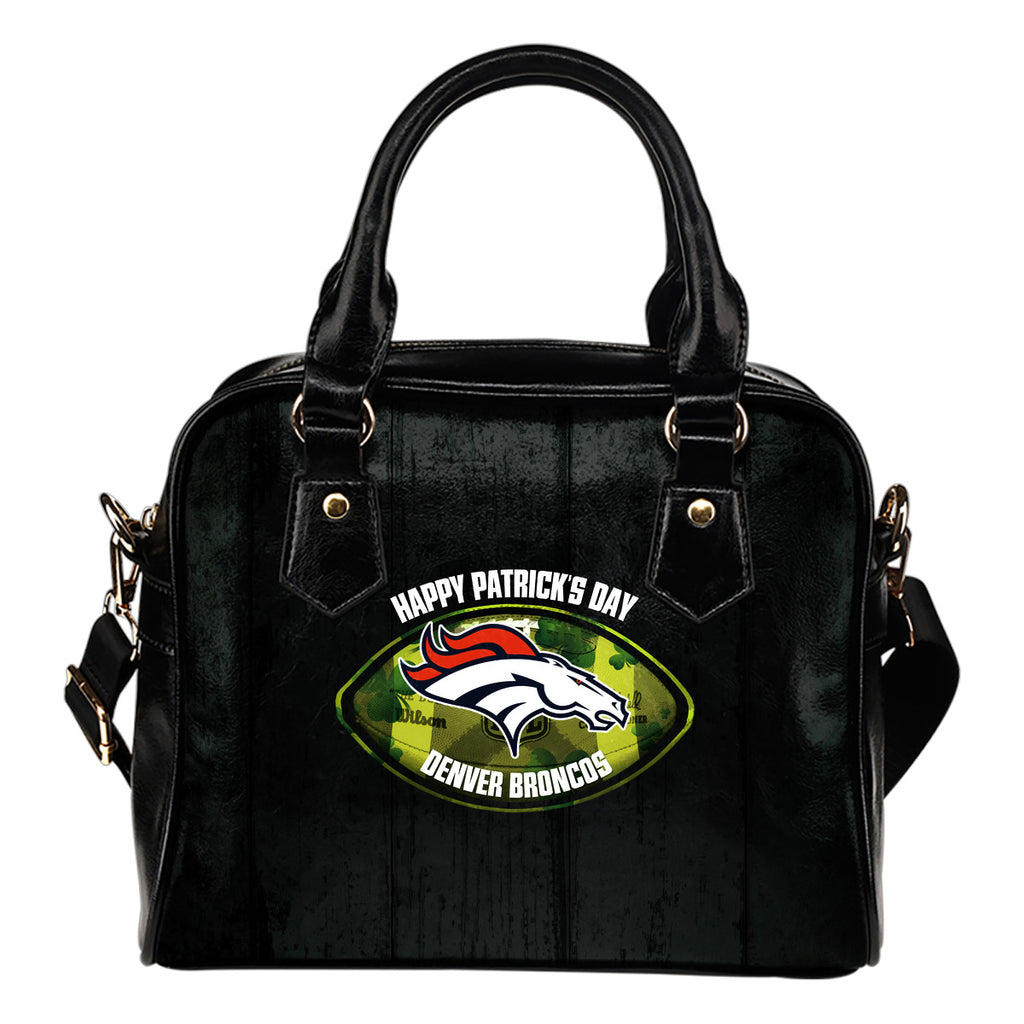 Retro Scene Lovely Shining Patrick's Day Denver Broncos Shoulder Handbags