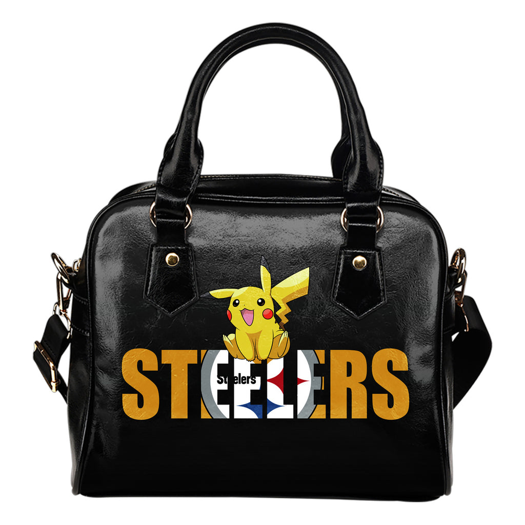 Pokemon Sit On Text Pittsburgh Steelers Shoulder Handbags