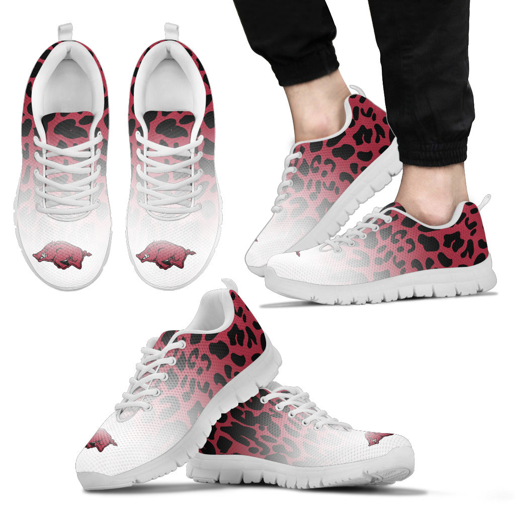 Leopard Pattern Awesome Arkansas Razorbacks Sneakers