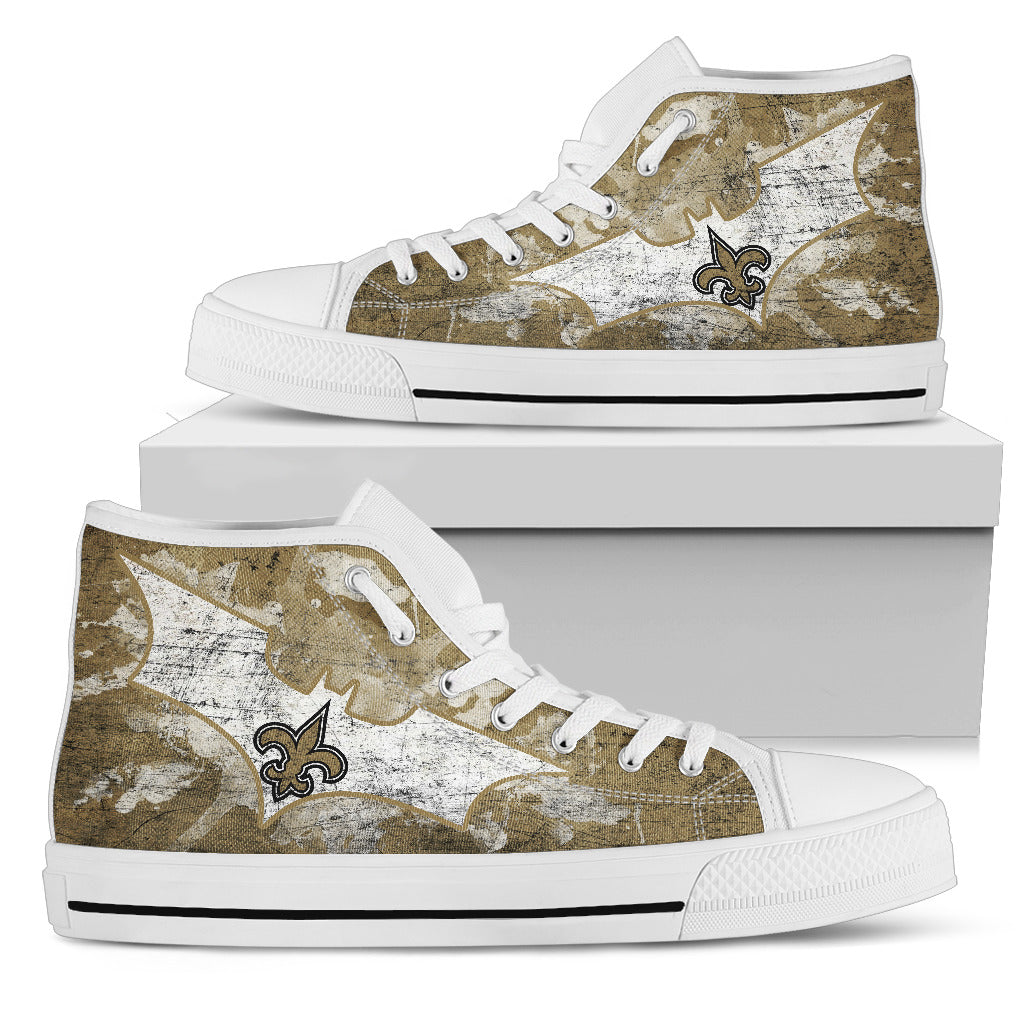 Batman Style New Orleans Saints High Top Shoes