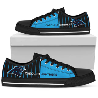 Simple Design Vertical Stripes Carolina Panthers Low Top Shoes