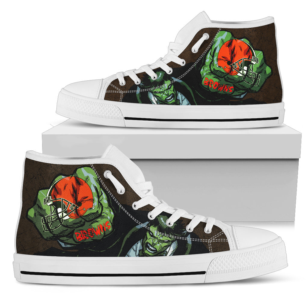Hulk Punch Cleveland Browns High Top Shoes