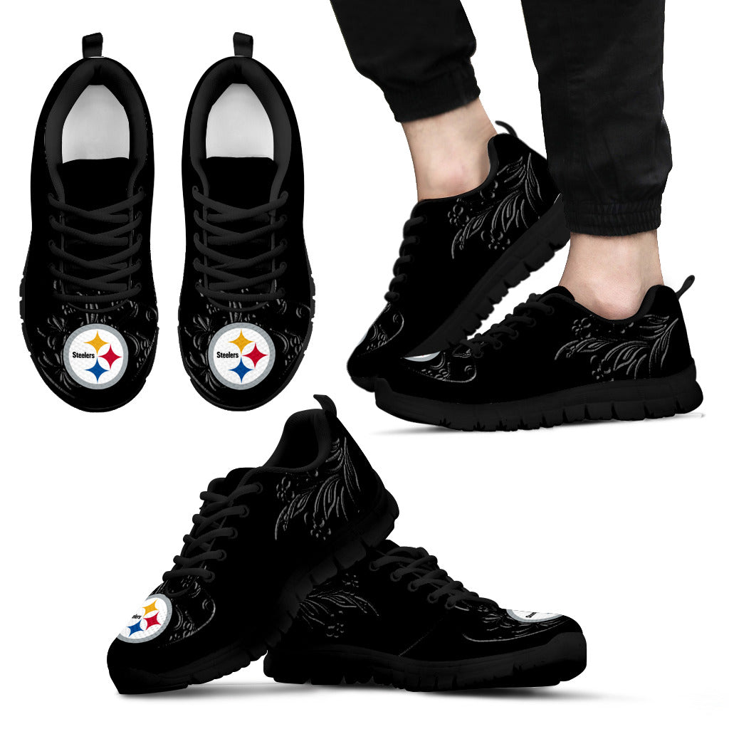 Lovely Floral Print Pittsburgh Steelers Sneakers