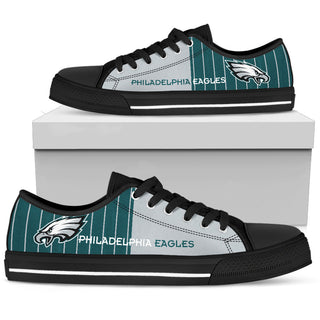Simple Design Vertical Stripes Philadelphia Eagles Low Top Shoes