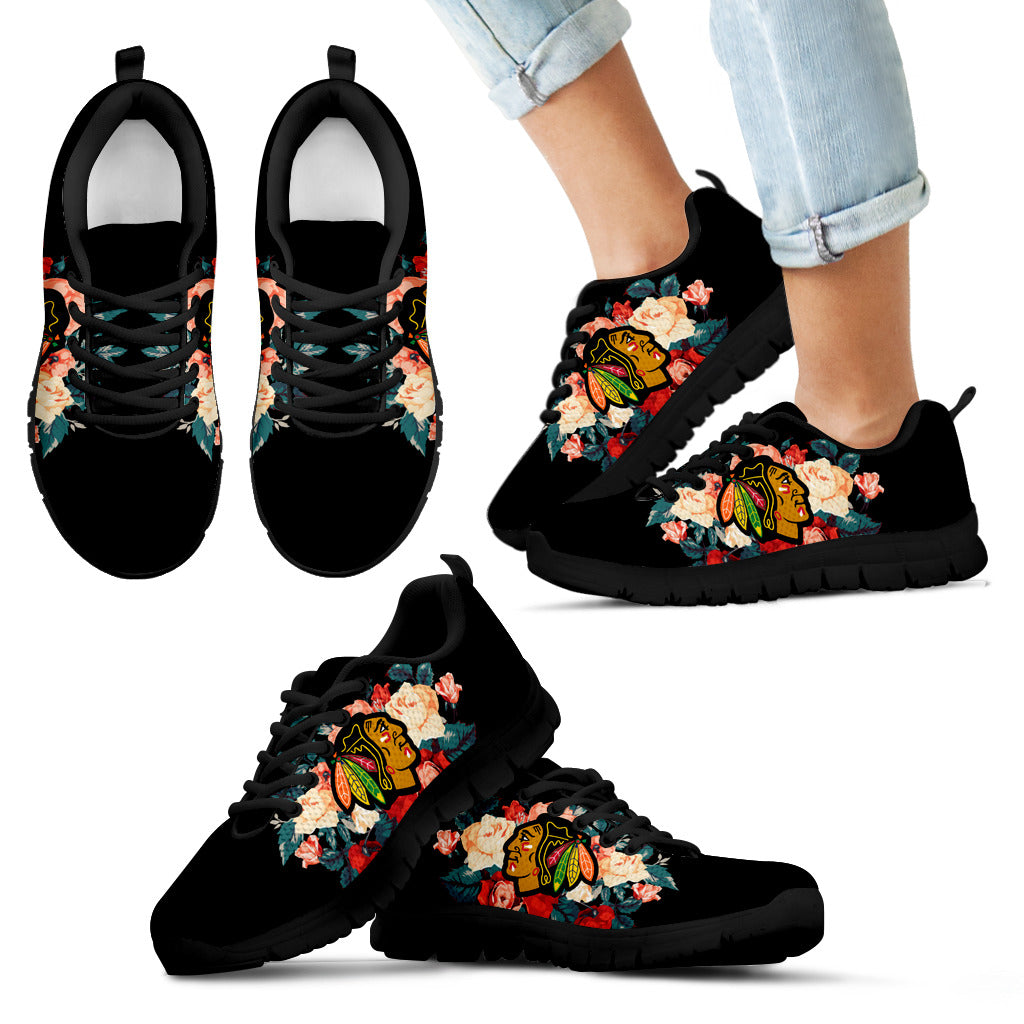 various colors 71597 70f2d Gorgeous Flowers Background Insert Pretty Logo Chicago Blackhawks Sneakers