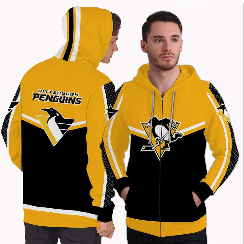 Fashion Gorgeous Fitting Pittsburgh Penguins Zip Hoodie