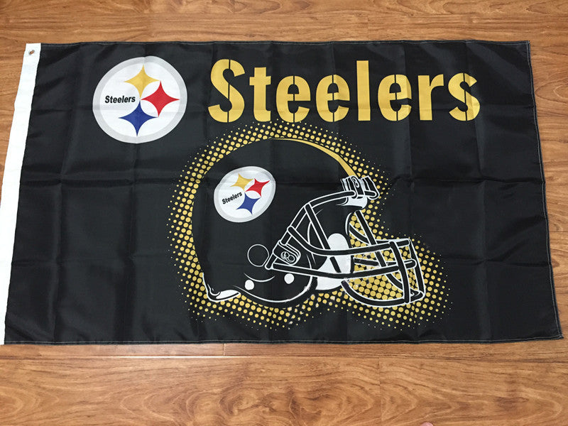 3x5ft Pittsburgh Steelers Flag Helmet 100D Polyester Handled