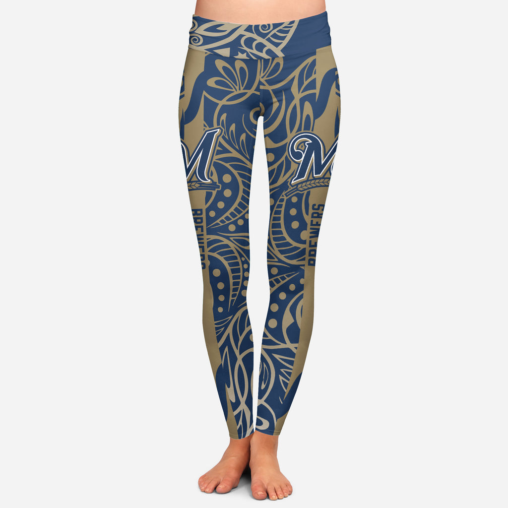 Curly Line Charming Daily Fashion Milwaukee Brewers Leggings
