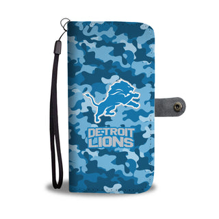 Camo Pattern Detroit Lions Wallet Phone Cases