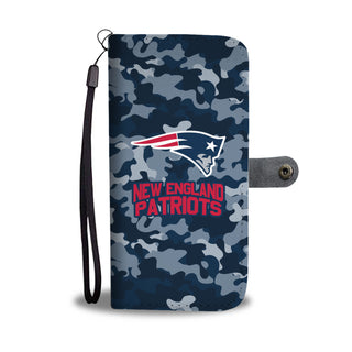 Camo Pattern New England Patriots Wallet Phone Cases