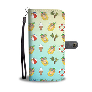 Pineapple Pool Float Beach Pattern Chihuahua Wallet Phone Cases