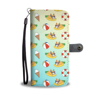 Pineapple Pool Float Beach Pattern Corgi Wallet Phone Cases