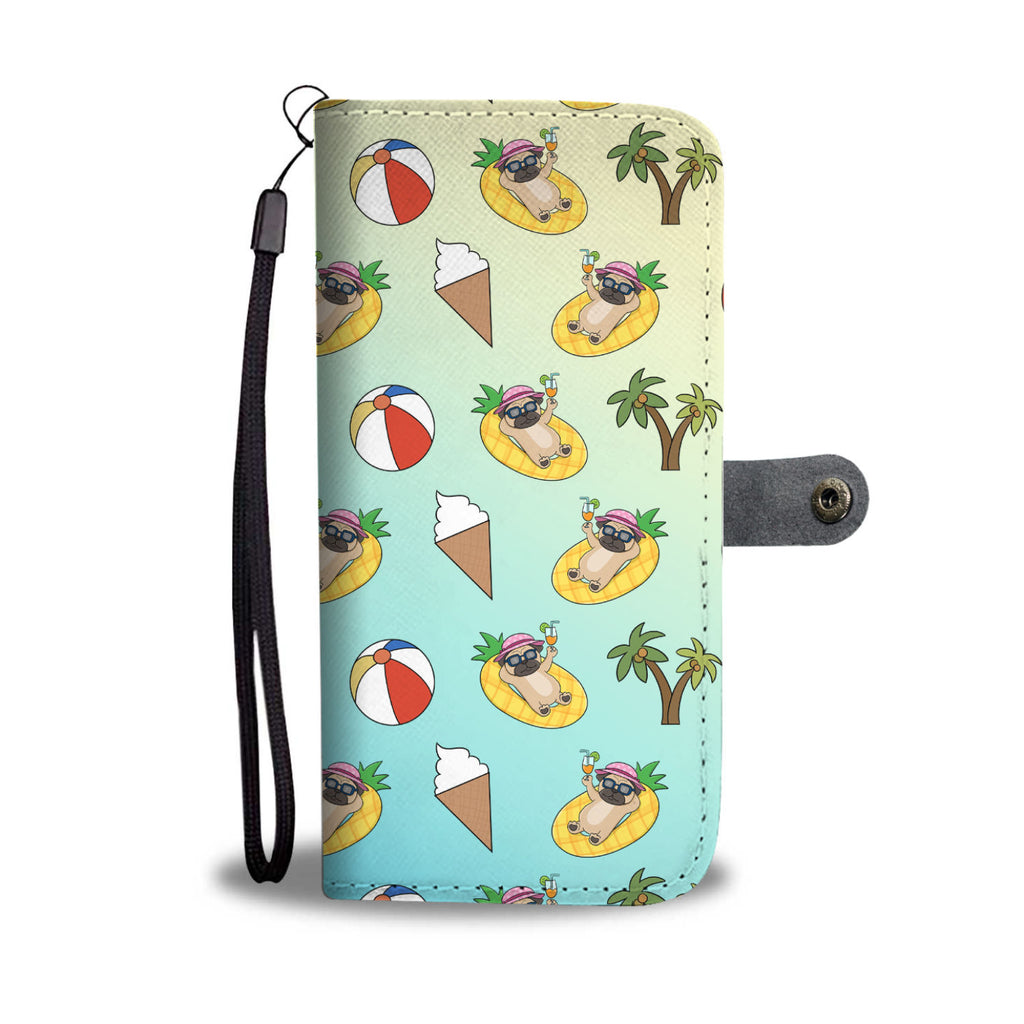 Pineapple Pool Float Beach Pattern Pug Wallet Phone Cases