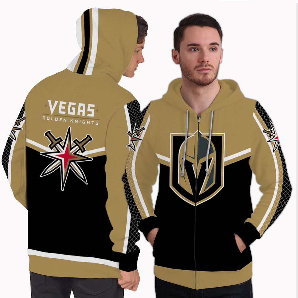 Fashion Gorgeous Fitting Vegas Golden Knights Zip Hoodie