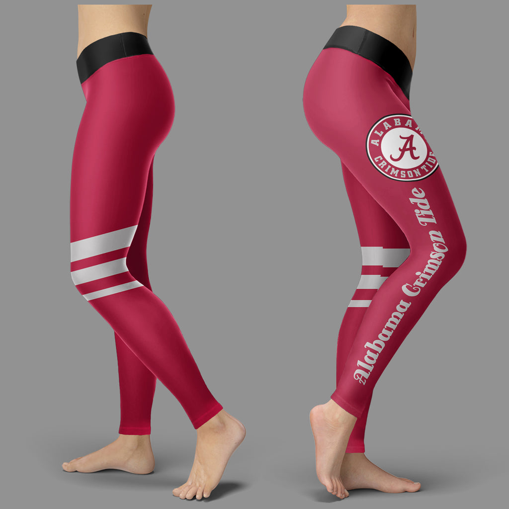 Through Great Logo Spread Body Striped Circle Alabama Crimson Tide Leggings