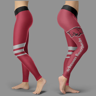 Through Great Logo Spread Body Striped Circle Arkansas Razorbacks Leggings