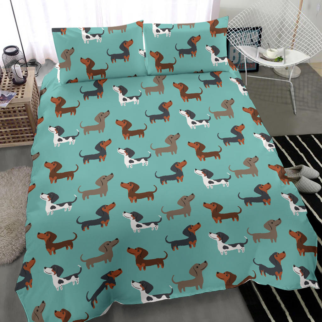 Funny Brown Dachshunds Bedding Sets In Blue Background