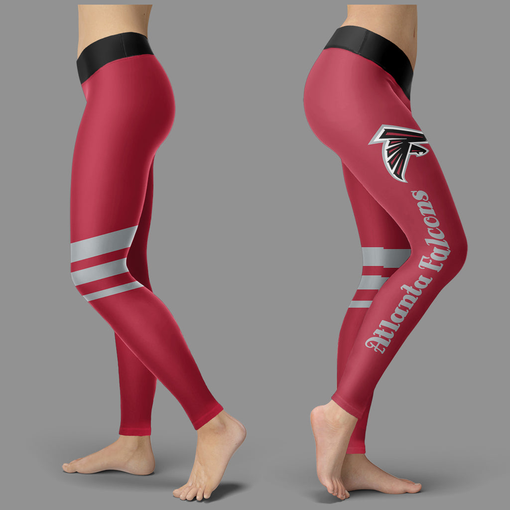 Through Great Logo Spread Body Striped Circle Atlanta Falcons Leggings