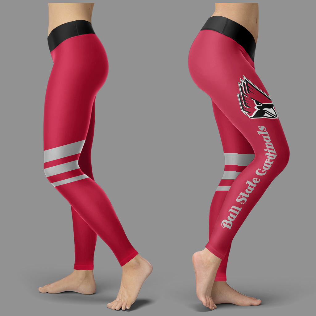 Through Great Logo Spread Body Striped Circle Ball State Cardinals Leggings