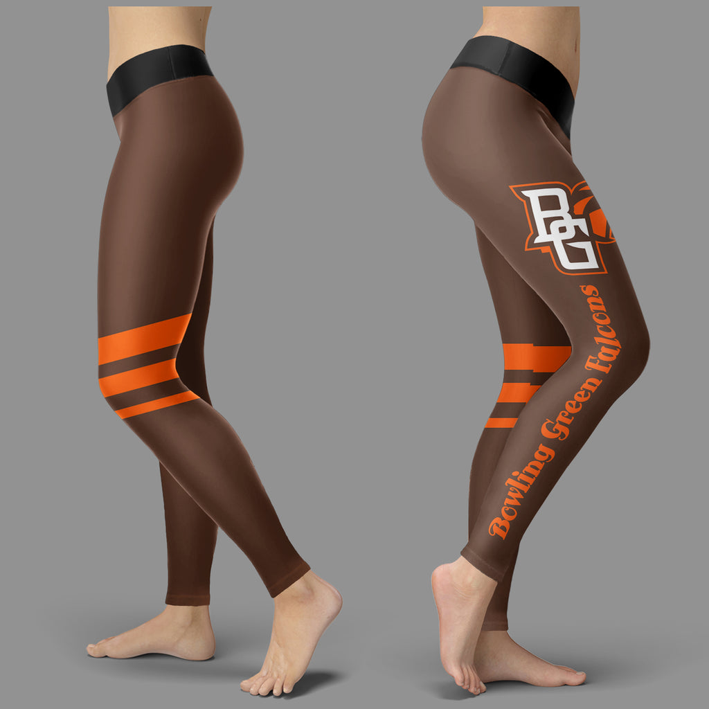 Through Great Logo Spread Body Striped Circle Bowling Green Falcons Leggings