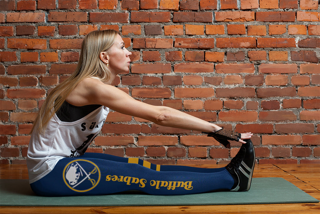 Through Great Logo Spread Body Striped Circle Buffalo Sabres Leggings