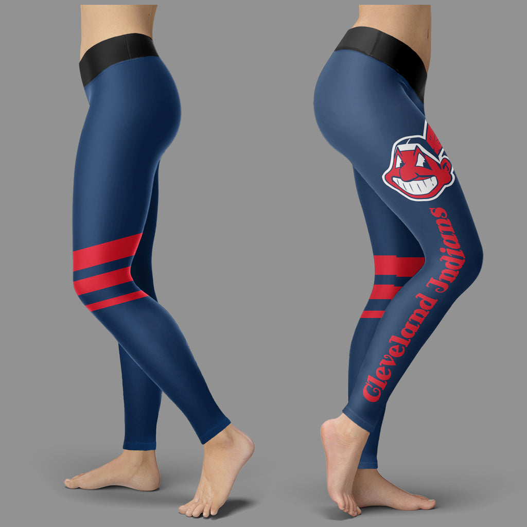 Through Great Logo Spread Body Striped Circle Cleveland Indians Leggings