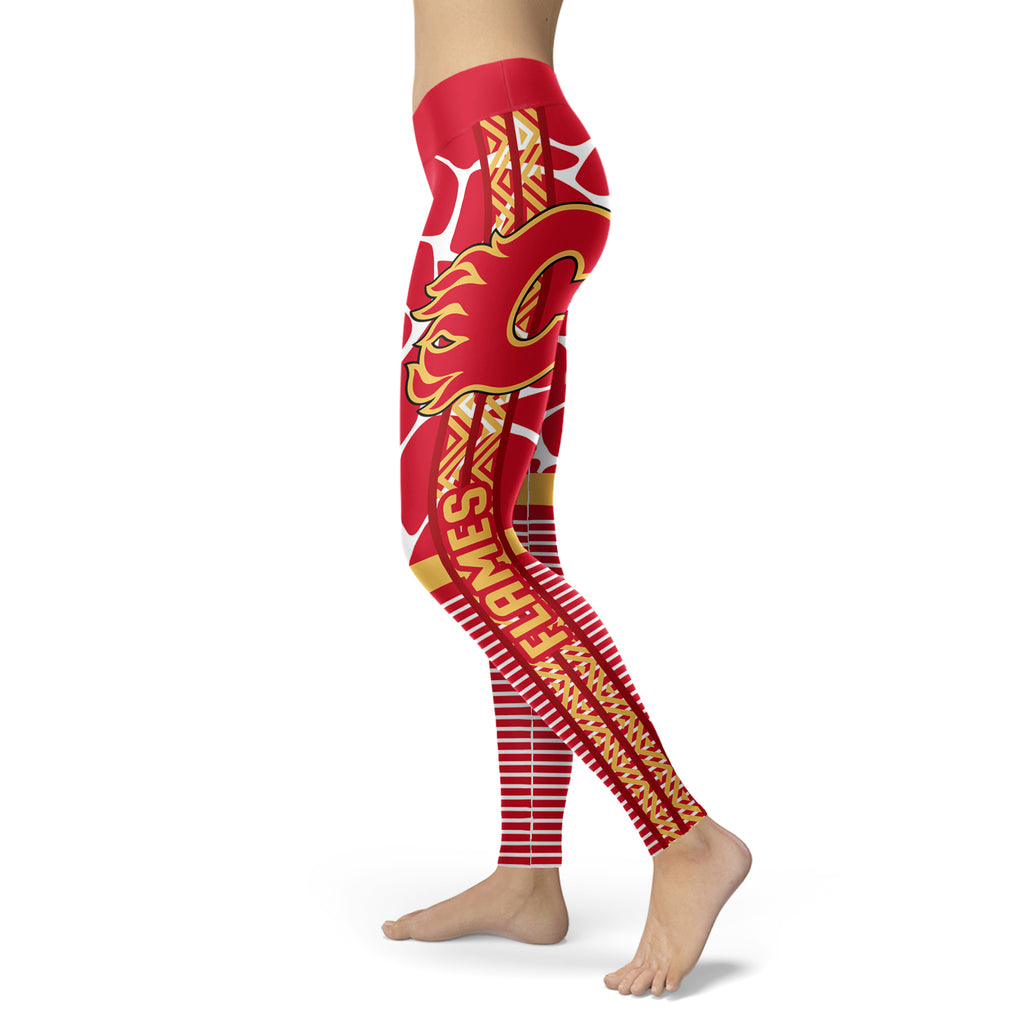 Cool Air Lighten Attractive Kind Calgary Flames Leggings
