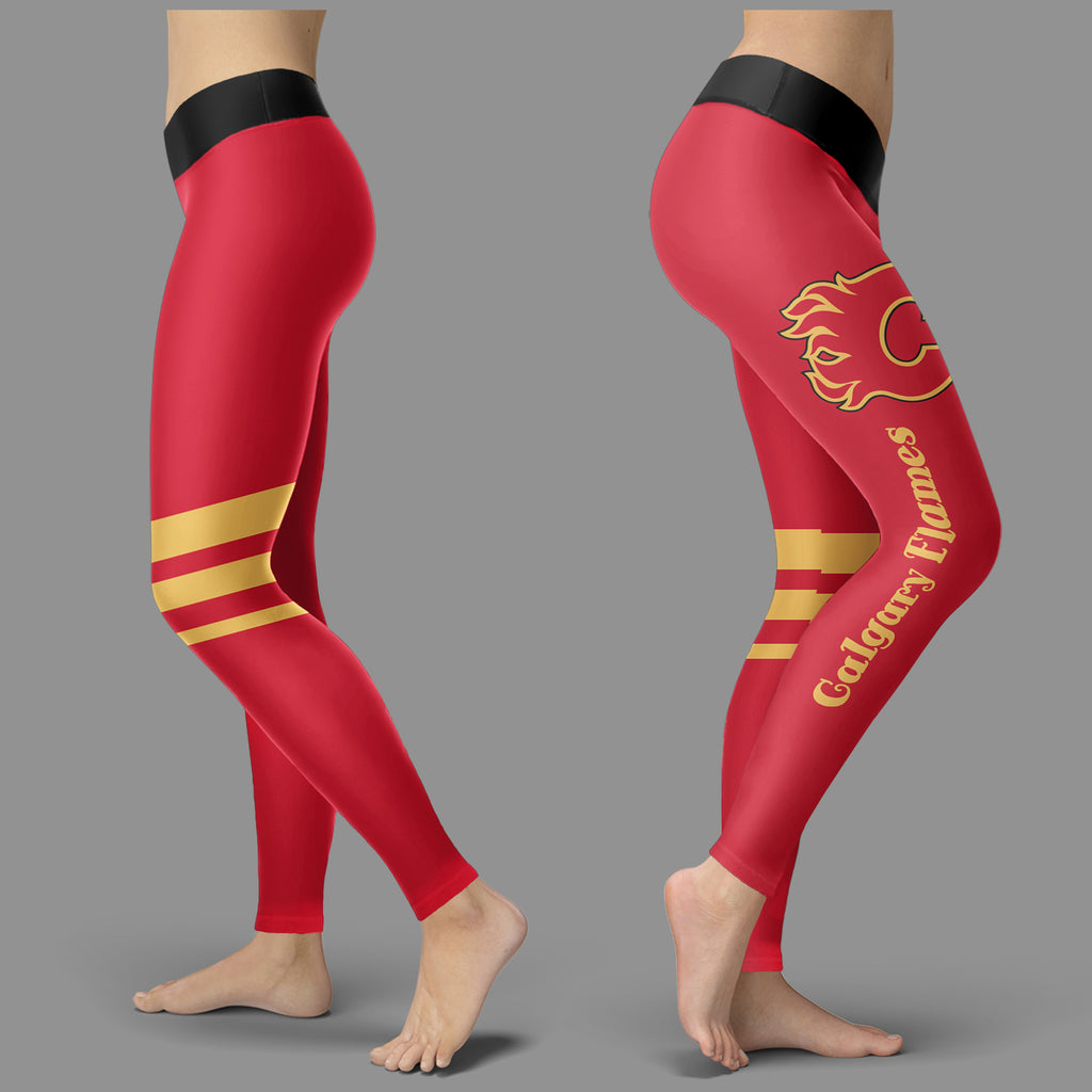 Through Great Logo Spread Body Striped Circle Calgary Flames Leggings