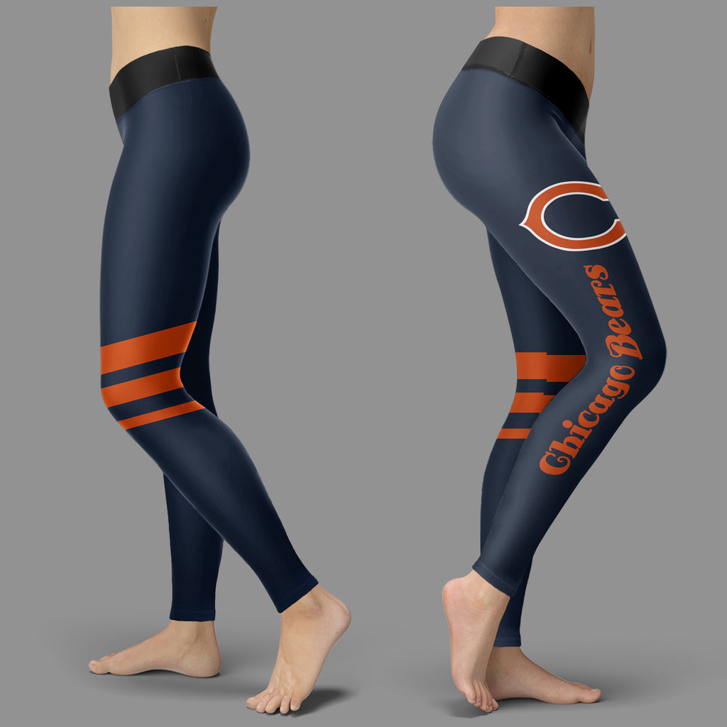 Through Great Logo Spread Body Striped Circle Chicago Bears Leggings