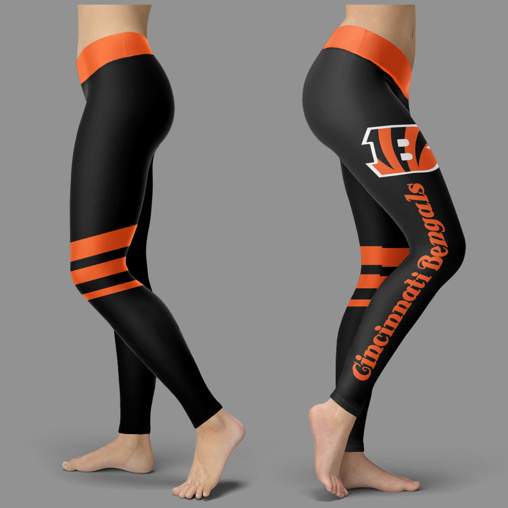 Through Great Logo Spread Body Striped Circle Cincinnati Bengals Leggings