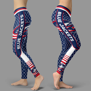 Single Small Line Circle Stylish Fashion Columbus Blue Jackets Leggings